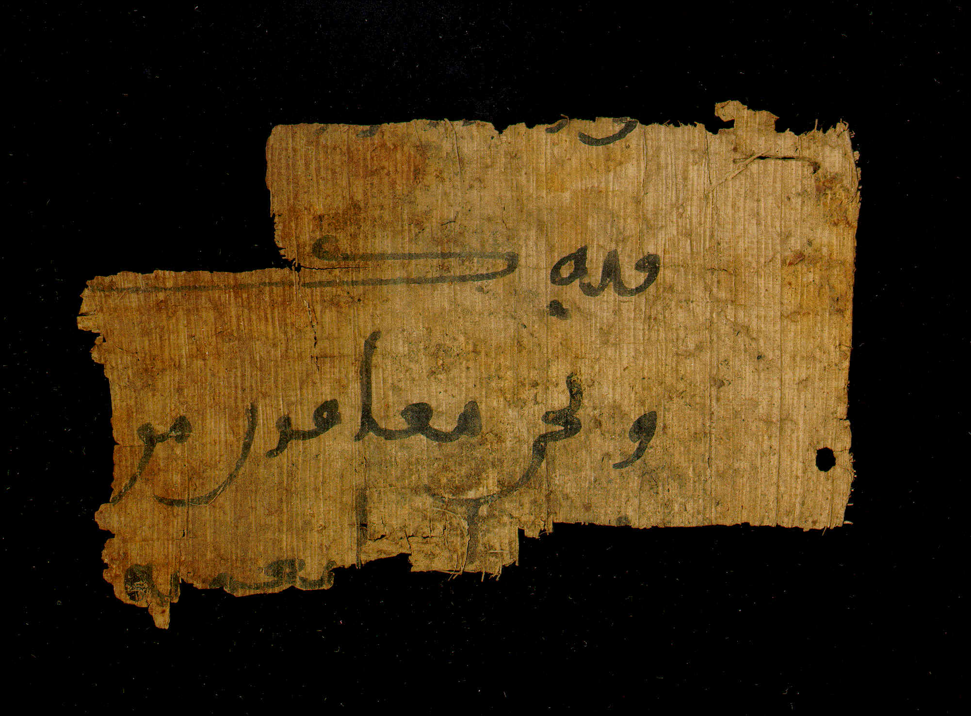 Arabic Documentary Papyrus, Enlarged View - Recto