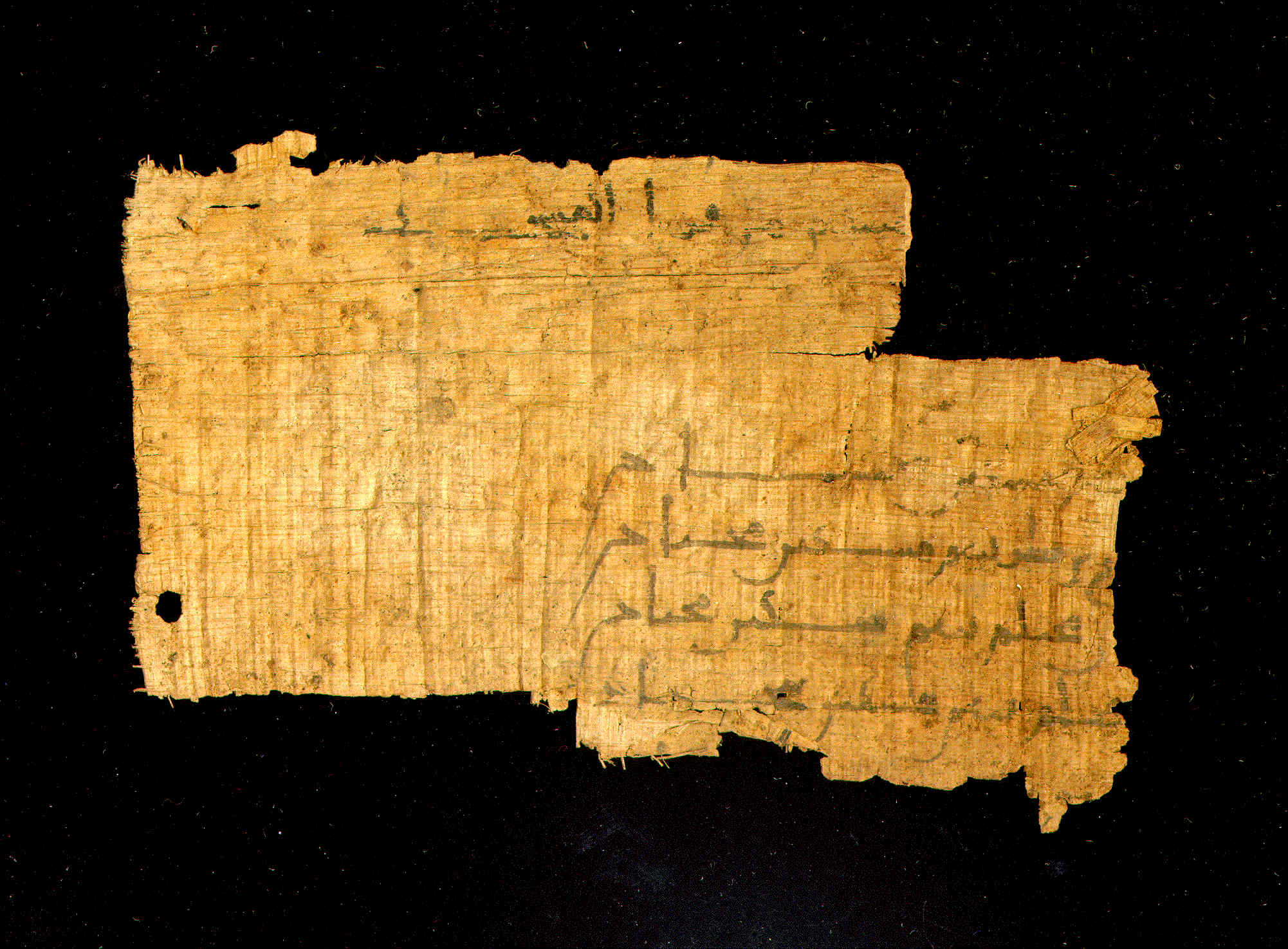 Arabic Documentary Papyrus, Enlarged View - Verso