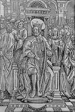 16th century French woodcut of King David and his court