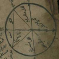 Detail showing a diagram of a circle from an Arabic maunscript on Euclidian geometry.