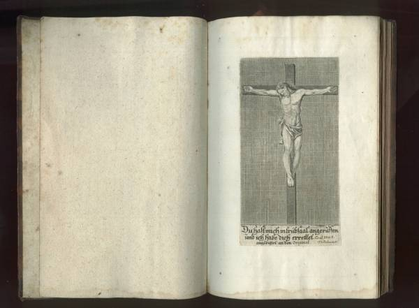 Sacrificicium S: S: Missae - Printed crucifixion image on Frontis Page