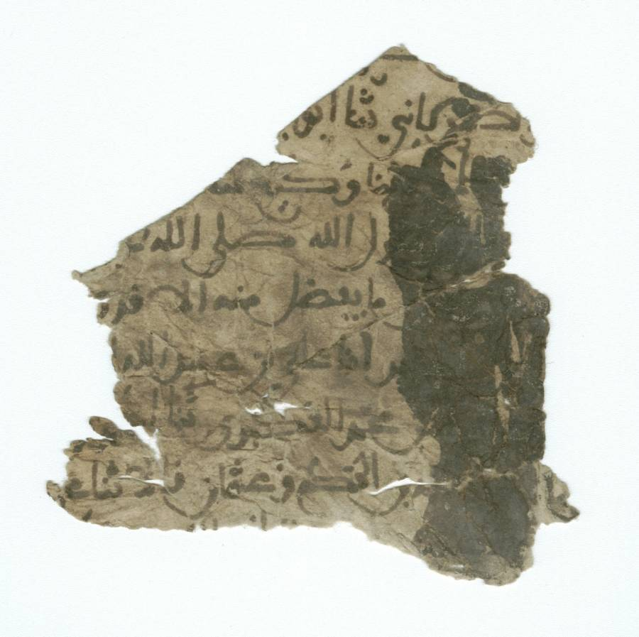 Arabic Paper Manuscript Fragment, Enlarged View - Recto
