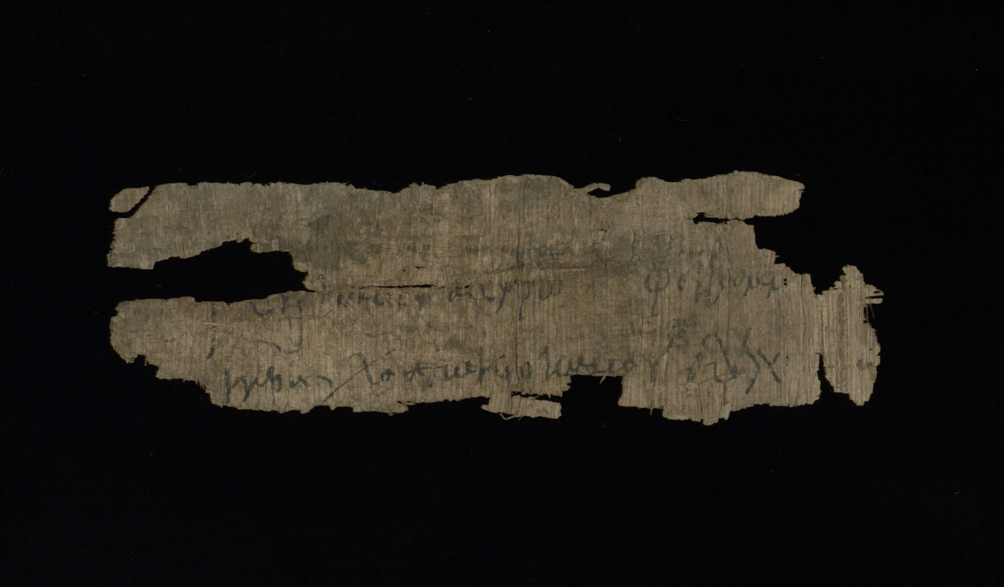 Documentary Manuscript Fragment written in Greek on Papyrus, Enlarged View - Verso