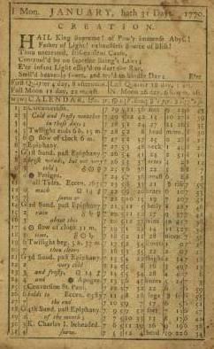 Almanack 1770
