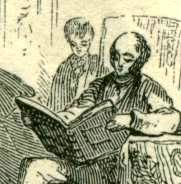 Father reads a large book while his young son looks over his shoulder.