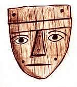 Drawing of a wooden mummy mask