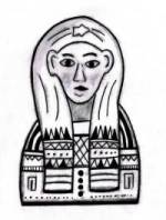 Black and white drawing showing the frontal view of a mummy mask.  These would be brightly painted and often gilded,